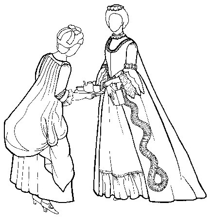 """Rocking Horse Farm RH184: Sacque Back Gown & Jacket    Can be made as a gown, jacket or polonaise. Was popular with both wealthy and serving classes in the 1770's. Includes pattern for side hoops and pinner cap, with instructions for plain or ruffled petticoat and neck ruff. Three size ranges, 8-10-12-14 (30"""" bust through 36"""" bust), 16-18-20 (38"""" bust through 42"""" bust), and 22-24-26 (44"""" bust through 48"""" bust). Click here for sizing information.    Price: $15.50 SALE! $13.00"""