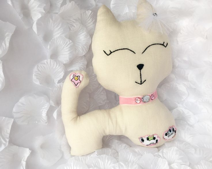 Handmaid Beige linen Cat with crystal elements on collar