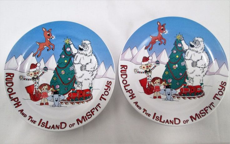 """2 Christmas 8"""" Ceramic PLATES - Rudolph Red Nosed Reindeer Island of Misfit Toys"""