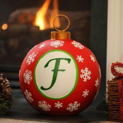 Red Snowflake Monogram F Ornament | Kirkland's