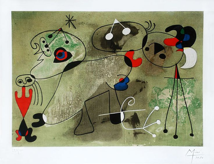 Joan Miro, Untitled Woman and Dog from the series of paintings known as 'Slow…