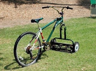 Save on gas, no fumes to harm people or the environment plus get great exercise!  Fabulous Idea..need to get one for my kids to use!: Army, Bicycles, Good Ideas, Bike, Lawn Mower, Yard, Environmental Friends, Rednecks, Two Birds