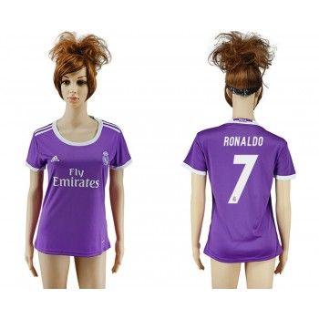 Real Madrid Fotbollsdräkter Kvinnor 16-17 Cristiano Ronaldo 7 Borta matchtröja Kortärmad #Billiga Fotbollströjor