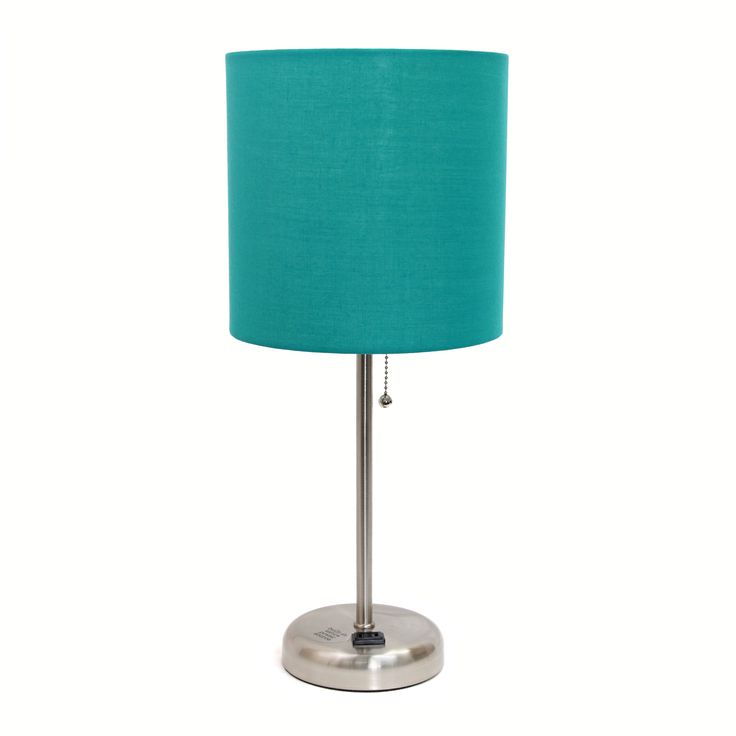 LimeLights Purple and Silvertone Metal/fabric Lamp with Charging Outlet (Teal), Blue