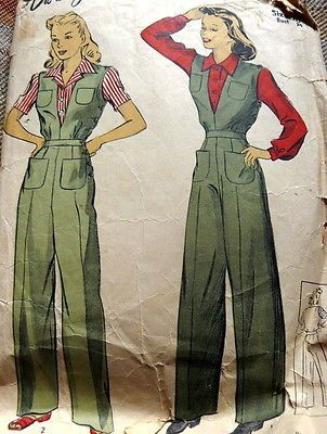 LOVELY VTG 1940s WWII BLOUSE & COVERALL Sewing Pattern 20/38