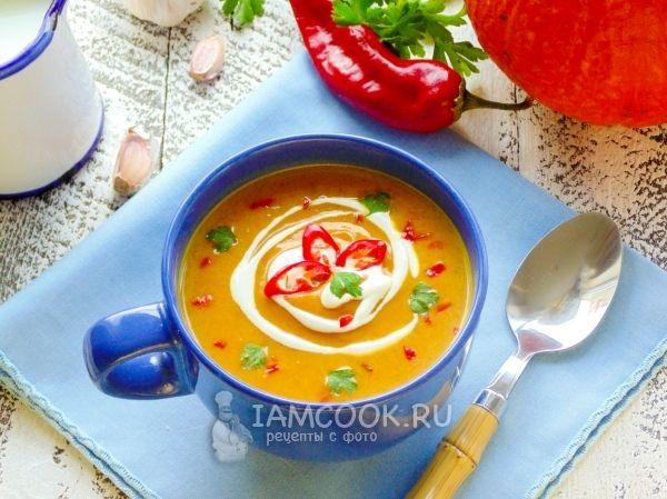 Фото азиатского крем-супа из печёной тыквы