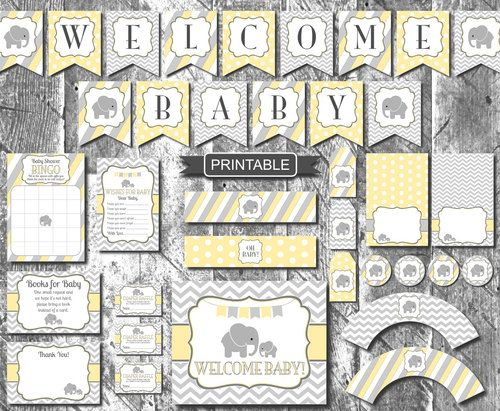 Yellow and Grey Baby Elephant Baby Shower Decorations Package Digital - http://www.babydecorations.net/yellow-and-grey-baby-elephant-baby-shower-decorations-package-digital/