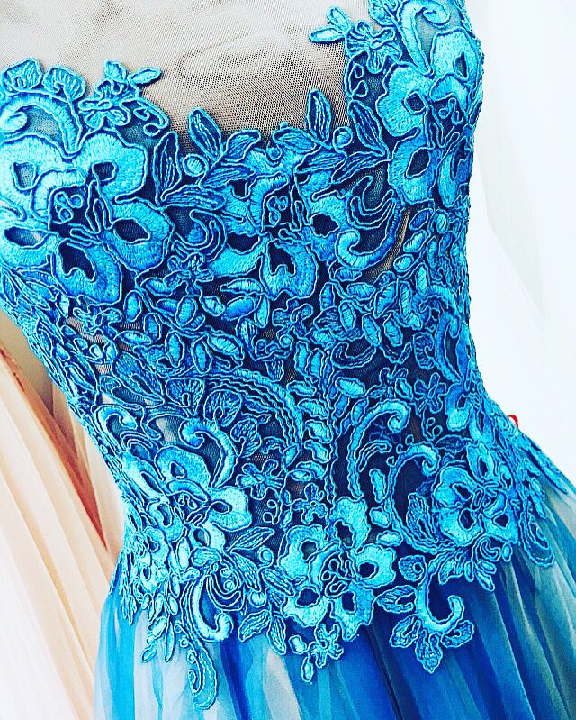 Tulle&Lace Turquoise Dress  by Irina Ross Atelier