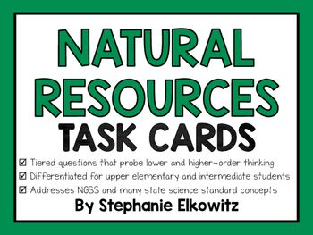 A FREE set of 24 differentiated and tiered task card questions to help assess your students on important concepts relating to natural resources. Answer sheets (multiple versions) and key included.Topics Covered: Natural vs. Man-Made, Renewable vs. Nonrenewable, Synthetic Products, Distribution of Natural Resources, Effects of Uneven DistributionConcepts addressed are appropriate for upper elementary and intermediate students.