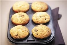 Muffins are always popular with kids and adults alike. With dark chocolate chips studded throughout, these muffins are a a great snack or lunch box treat.