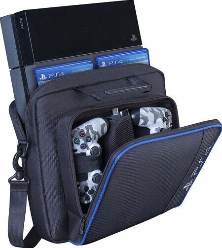 Game Console and Accessories Padded Shoulder Carrying Case For PlayStation 4, PS4 Take your PS4 System, games and accessories with you; Keep them organized and protected with this PlayStation 4 System