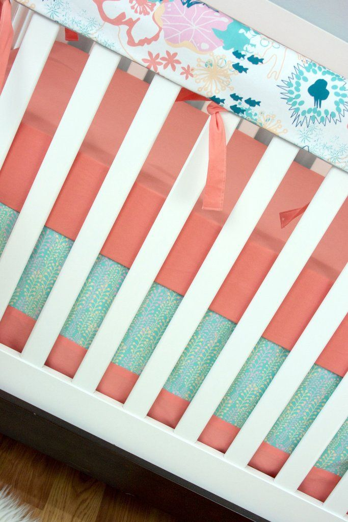 Coral Waves Bumperless Crib Bedding - Modified Tot - 4