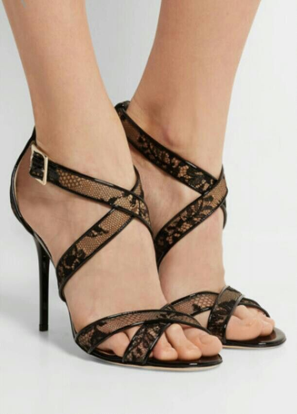 d35cf8124 Jimmy Choo Lottie lace-covered mesh and patent-leather sandals ...