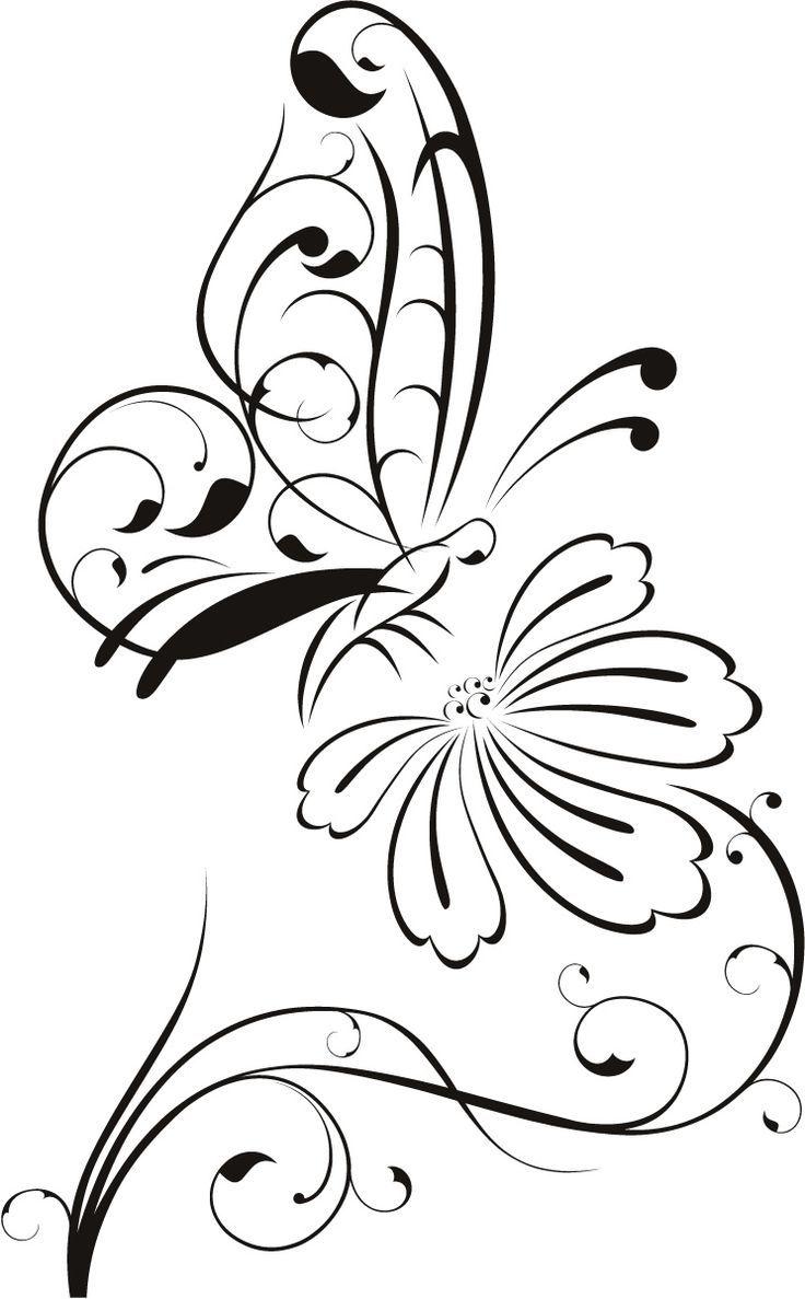 Blumen Umrisszeichnungen | Schmetterling auf Blume Gliederung Floral Wall Decal …