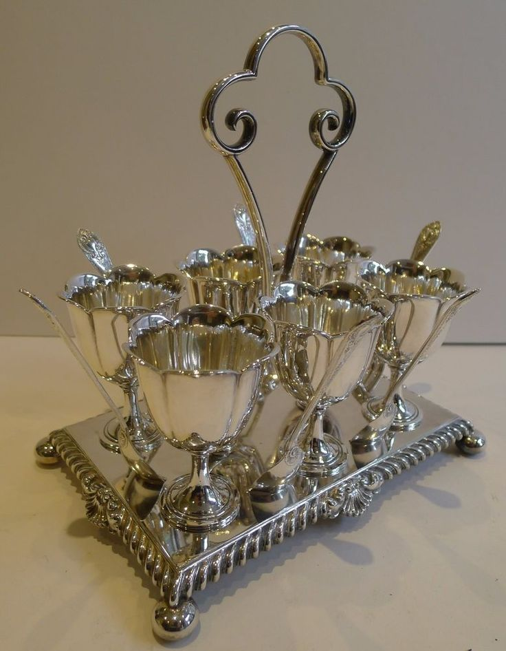 Antique English Silver Plated Egg Cruet For Six by James Dixon and Sons c.1900 #JamesDixon
