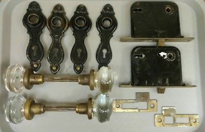 Antique-2-034-Clear-Glass-Round-Door-Knobs-2-Sets-Back-Plates-Mortise-Lock-1900-039-s
