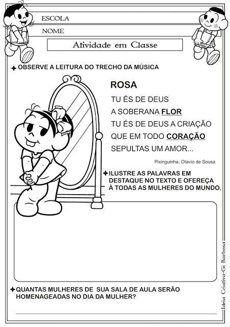 Atividade Dia da Mulher/ Poesia de Pixiguinha e Otávio de Sousa
