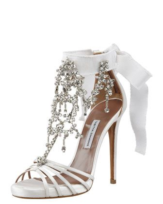 Wedding Shoe: Chandelier Crystal Sandal Heel by Tabitha Simmons. Luminous White Bridal