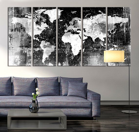 Canvas Print  Black and White World Map Wall by acrylicpainting76