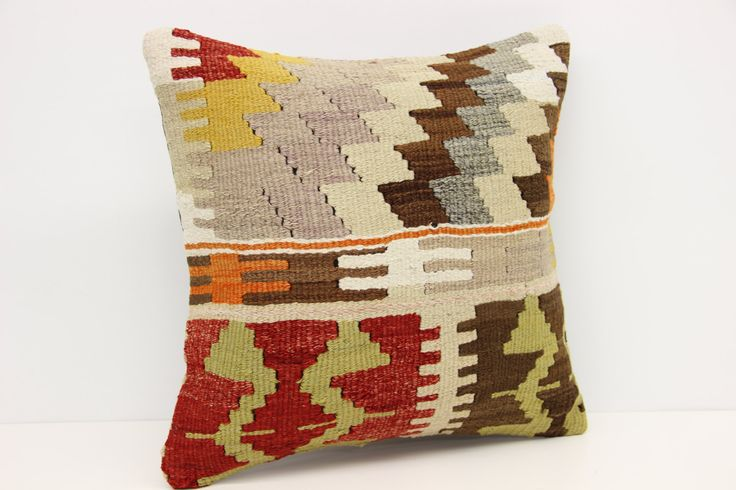 Turkish Kilim pillow cover 16x16 inches Handwoven pillows Pattern handmade kilim pillow Natural Cushion covers  Square pillow M-1397 by stripepattern on Etsy
