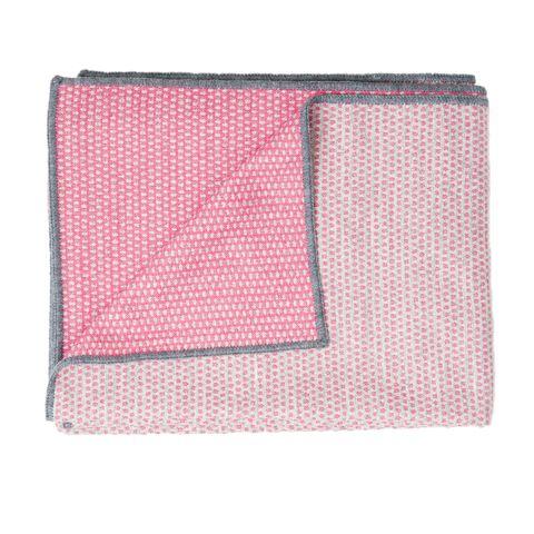 Merino Lambswool Throw – Made in England – Classic Clarendon Grey and Hot Pink Throw - Tori Murphy Ltd
