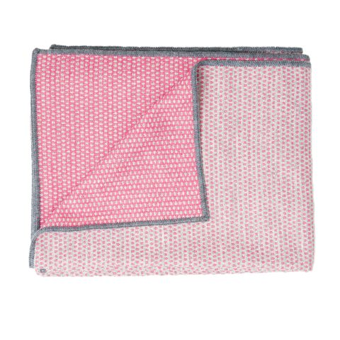 Merino Lambswool Throw – Made in England – Classic Clarendon Grey and Hot Pink Throw - Tori Murphy Ltd