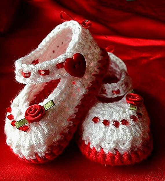 Valentine Booties and Headband White and Red by TippyToesbabyshoes, $25.00