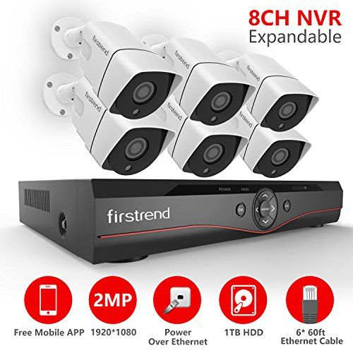 [Expandable] Firstrend 8CH POE Camera System with 6x 1080P HD Security Camera, Plug and Play Home Security Camera System with Pre-installed 1TB Hard Drive, Free APP and Night Vision #[Expandable] #Firstrend #Camera #System #with #Security #Camera, #Plug #Play #Home #installed #Hard #Drive, #Free #Night #Vision