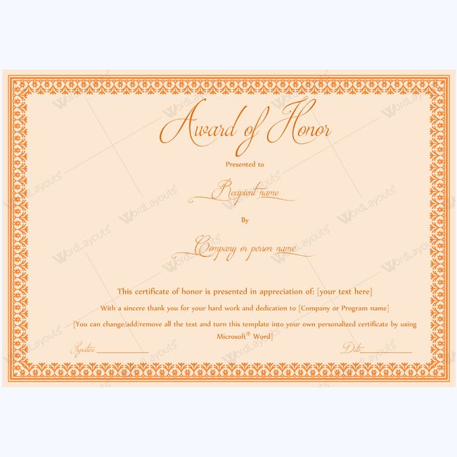 15 besten award of honor certificate templates Bilder auf Pinterest ...