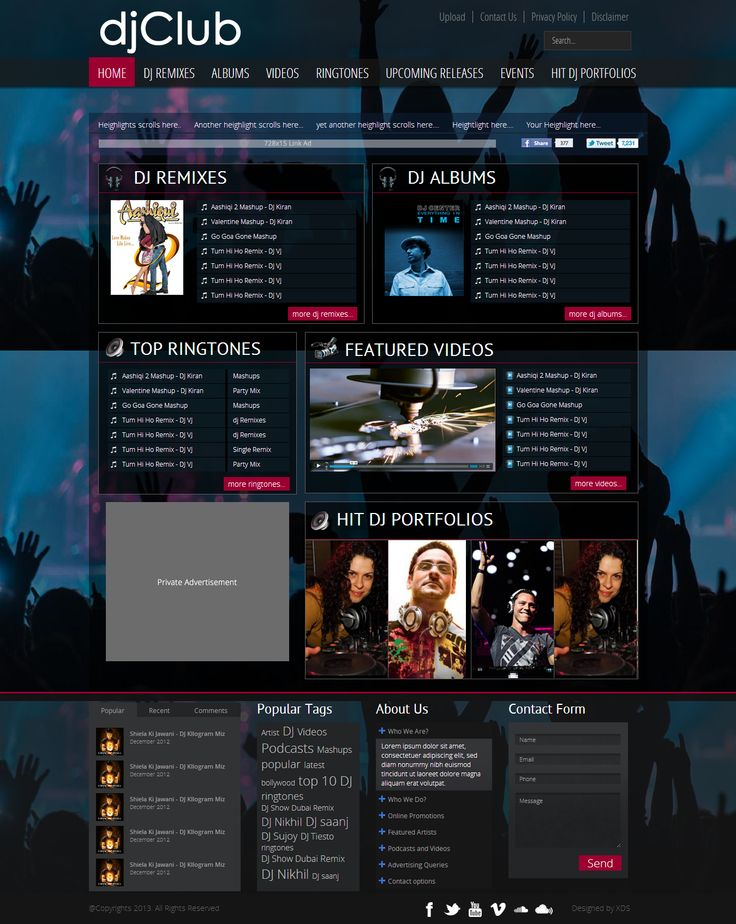 Wonderful web design fro DJ