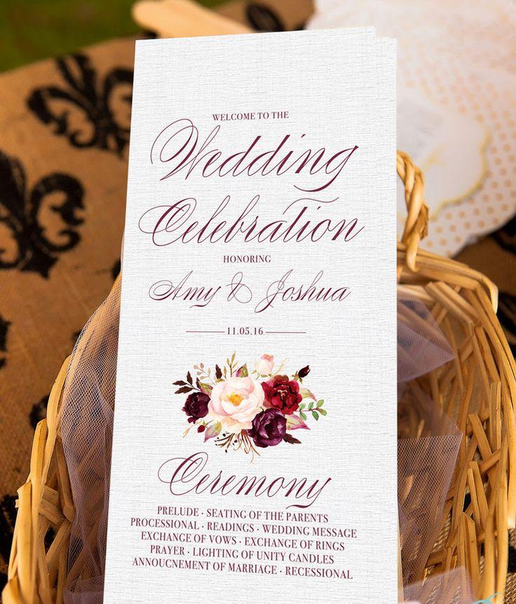 Floral marsala wedding program custom from Unica Forma