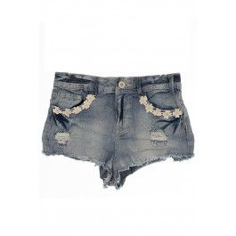 Amber Stone Wash Daisy Chain Detail Denim Hotpants BUY IT NOW ONLY £14 AT www.fuchia.co.uk