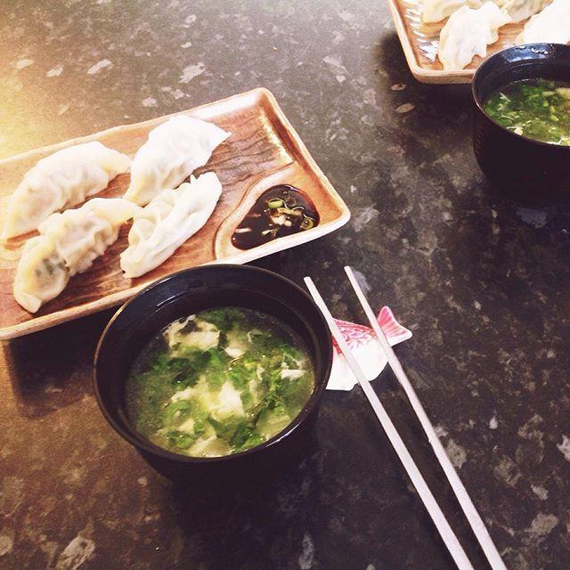 Sat morning: steamed dumplings & veges soup wiz egg drops #evelittlekitchen