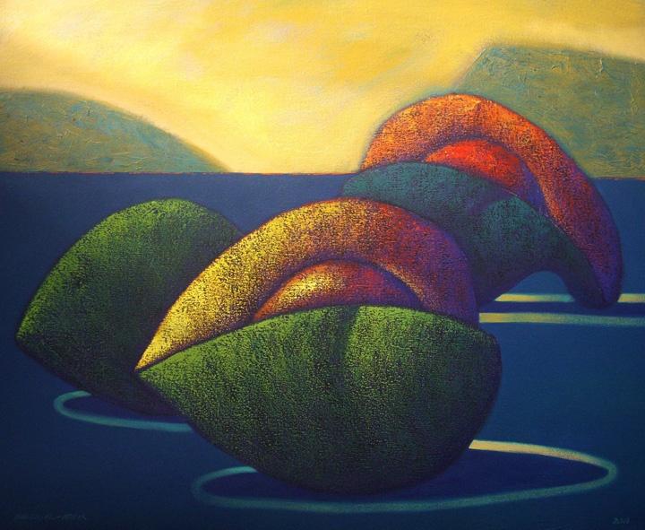 Frutas y paisaje I  80 x 100 cms, acrilico 2011.: Art Sales, Acrilico 2011, 100 Cms