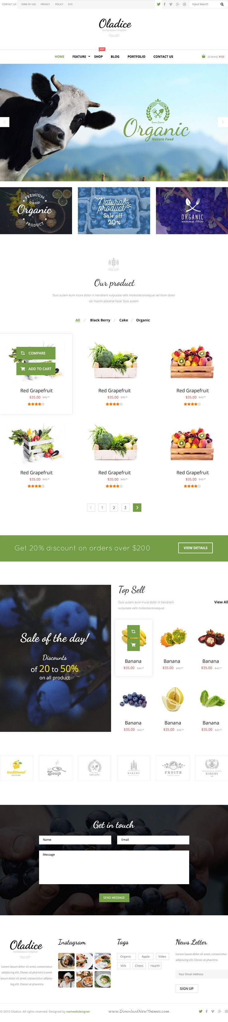 Oladice is clean and elegant design #PSD #Template for Organic #Farms website. Download Now!