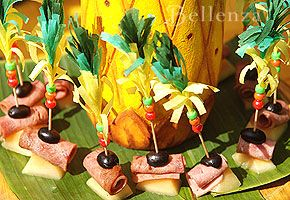 Tropical-themed engagement party - appetizers on skewers