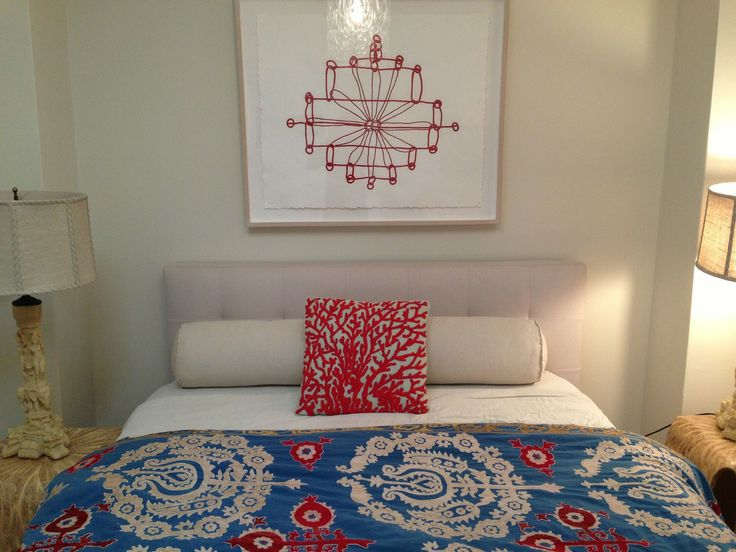Guest Bedroom: Suzani Wedding textile, Louise Bourguois print