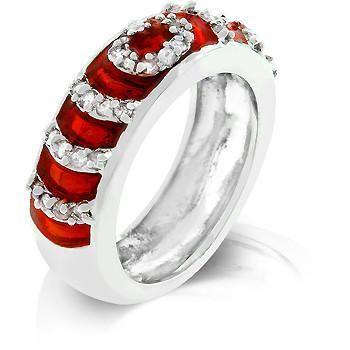 Garnet Enamel Ripple Ring