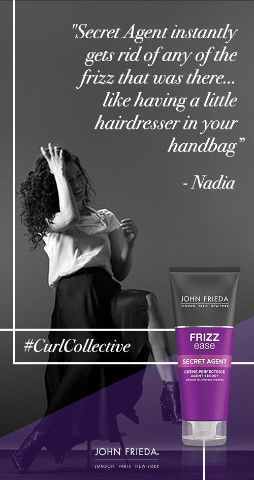 Define frizzy curls in any weather condition… Frizz Ease Secret Agent Touch Up Crème is the ultimate handbag essential for restotring essential moisture back into dehydrated, damaged and frizzy curls, for an instantly smooth & shiny finish. #CurlCollective #JohnFriedaDreamCurls #curlyhair #curls #hairtips #hairadvice