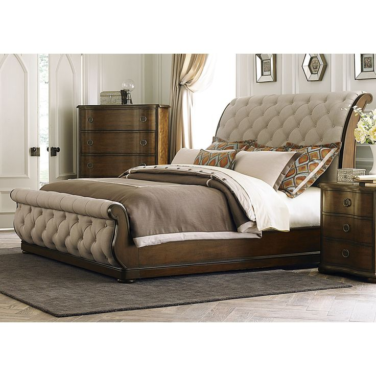 Liberty Cotsworld Tufted Linen Upholstered Sleighbed (Cotsworld King Tufted Linen Upholstered Sleighbed), Brown