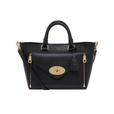 Mulberry - Small Willow Tote in Black Silky Classic Calf With Soft Gold