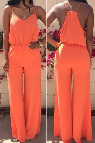Stylish Spaghetti Strap Sleeveless Solid Color Women's Baggy Jumpsuit Jumpsuits & Rompers | RoseGal.com Mobile