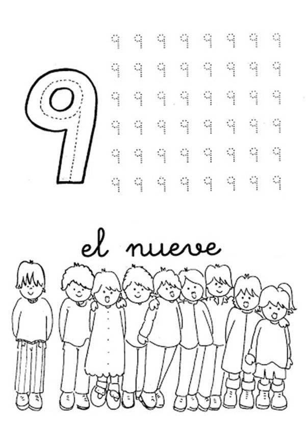 Learn Number 9 With Nine Kids Coloring Page Coloring For Kids Coloring Pages For Kids Coloring Pages