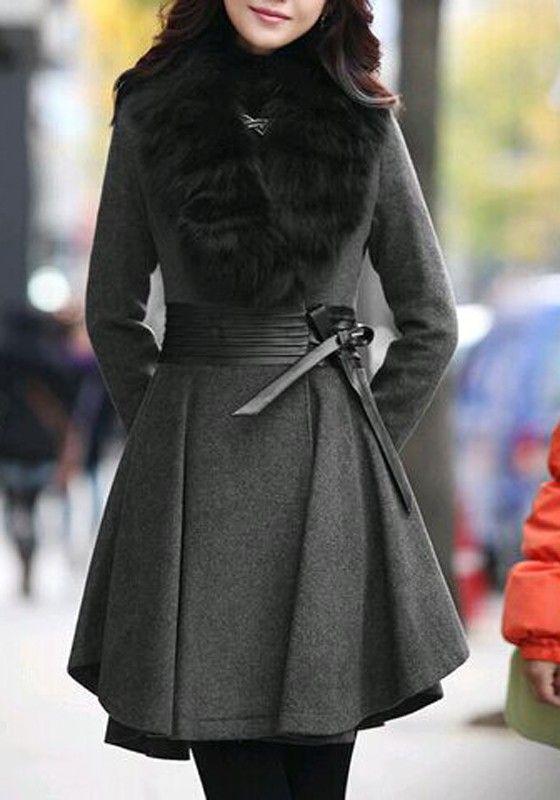 Grey Patchwork Pleated Belt Faux Fur Turndown Collar Long Sleeve Coat
