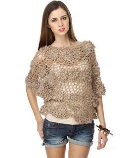 Receitas de Crochet: blusa de crochet com flores em relevo
