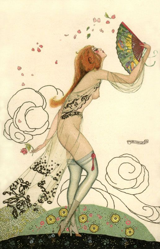 Umberto Brunelleschi: Vintage Pearls, Art Nouveau, Illustrations, Fans, Brunelleschi 1920S, Red Carpets, Umberto Brunelleschi, Vintage Art, Art Deco