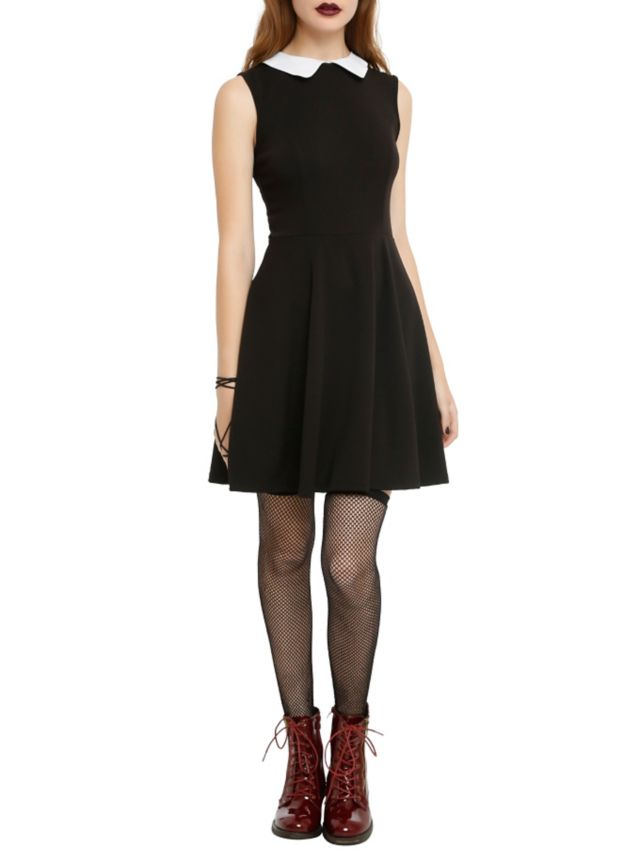 Wednesday Addams Black sleeveless dress with a white collar.