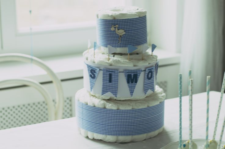 three tier diaper cake, a personal gift for baby Simon