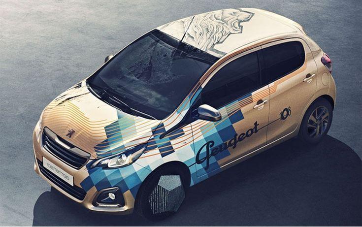 La marque automobile #Peugeot : collaboration avec le tatoueur français #XOIL, pour lancer une édition limitée de la Peugeot 108. Vers une nouvelle forme de #cobranding entre une marque et le style d'un tatoueur  - #Tatoo #car #wrapping for Peugeot  : cobranding between the artist XOIL and the manufacturer