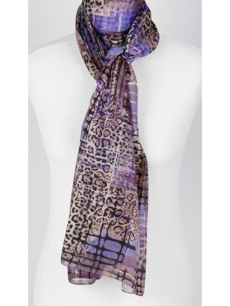 Paarse sjaal met pied de poule en panter print €19,95 bouFFante